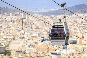 Cable car between coast and Montjuic hill | Visit Barcelona With Family